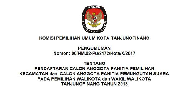 """KPU Tanjungpinang Buka Pendaftaran """"CALON ANGGOTA PPK dan PPS"""" 1"""