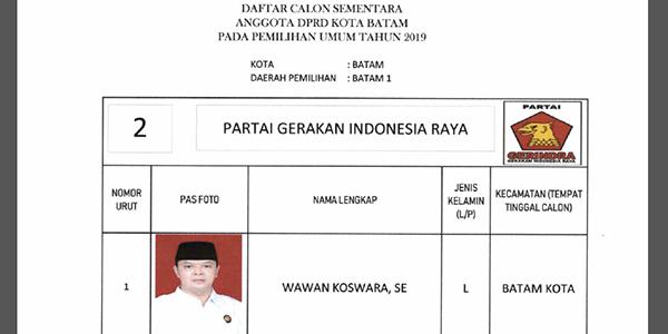 """Daftar Calon Sementara """"DPRD KOTA BATAM"""" dari Partai GERINDRA 1"""