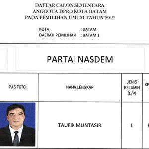 "Daftar Calon Sementara ""DPRD KOTA BATAM"" dari Partai NASDEM 9"