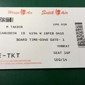 Contoh boarding pass ID-6196 UPG SOQ..