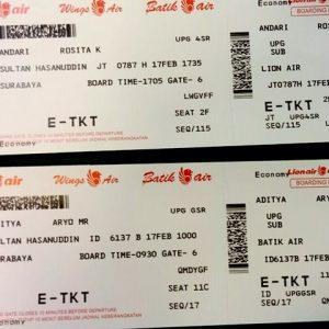 Contoh boarding pass UPG SUB..