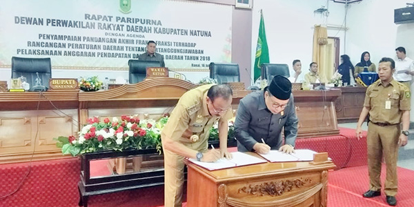 Dewan Setujui Ranperda LPj Pelaksanaan APBD Natuna Tahun 2018 2