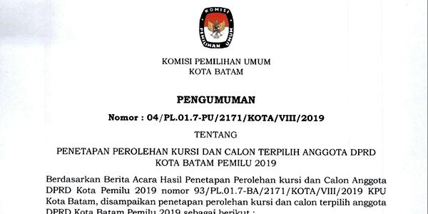 KPU Tetapkan 50 Calon Terpilih Anggota DPRD Batam 1