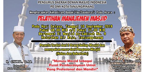Hari ini Walikota Buka Pelatihan Manajemen Masjid se-Kota Tanjungpinang