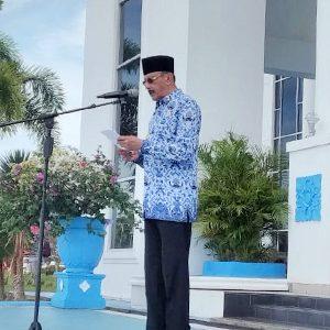 Bupati Natuna, H Abdul Hamid Rizal, membacakan amanat Menteri Pemuda dan Olahraga, Zainudin Amali