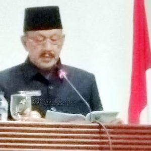 Bupati Natuna, Hamid Rizal, menyampaikan pidato Rancangan Perubahan Ketiga Atas Peraturan Daerah Kabupaten Natuna No 6 Tahun 2016.