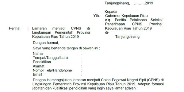 Contoh Surat Lamaran Cpns Provinsi Kepri Sijorikepri Sijori Kepri