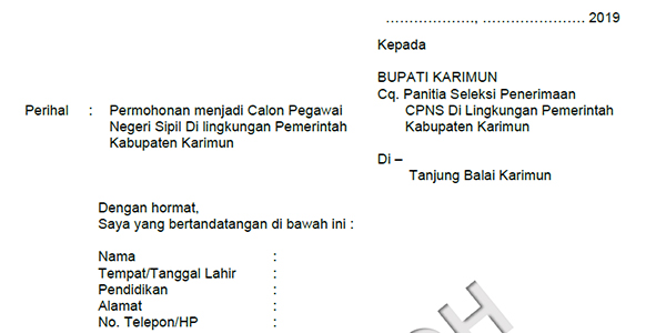 Contoh Surat Lamaran Dan Pernyataan Cpns Pemkab Karimun Sijorikepri Sijori Kepri