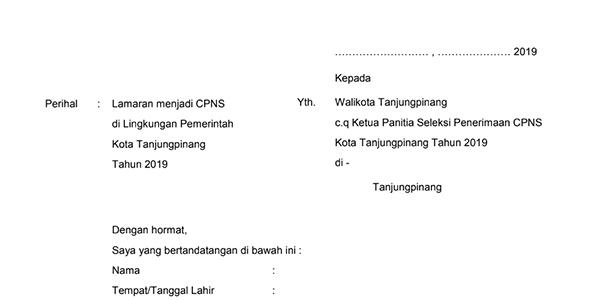 Ini Contoh Surat Lamaran CPNS Pemko Tanjungpinang