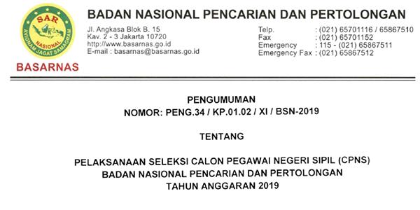 Informasi Penerimaan CPNS BASARNAS Tahun 2019 1