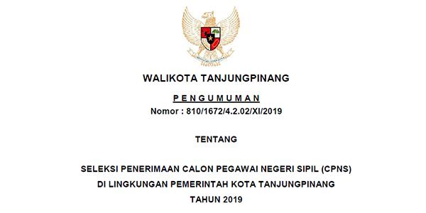 Informasi Penerimaan CPNS Pemko Tanjungpinang Tahun 2019 1