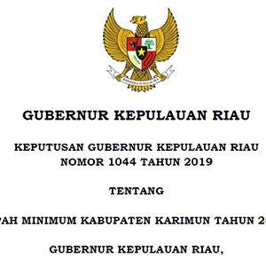 Upah Minimum Kabupaten (UMK) Karimun Tahun 2020