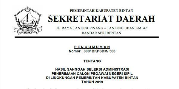 Pengumuman Hasil Sanggah Seleksi Administrasi CPNS Pemkab Bintan
