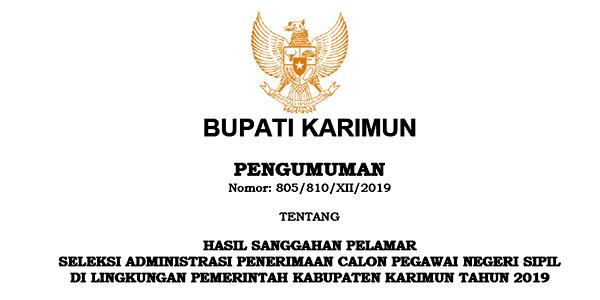 Pengumuman Hasil Sanggahan Seleksi Administrasi CPNS Pemkab Karimun