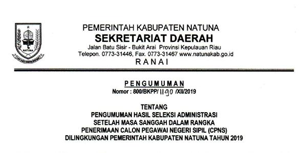Pengumuman Hasil Sanggahan Seleksi Administrasi CPNS Pemkab Natuna