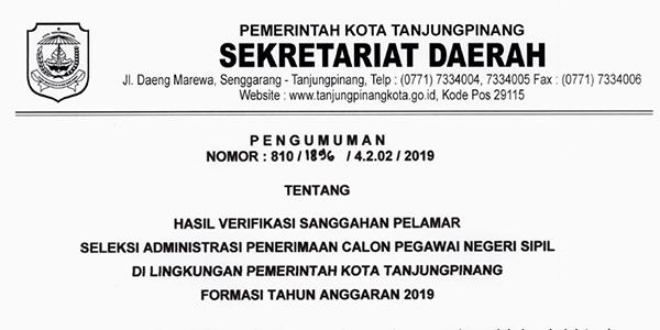 Pengumuman Hasil Sanggahan Seleksi Administrasi CPNS Pemko Tanjungpinang