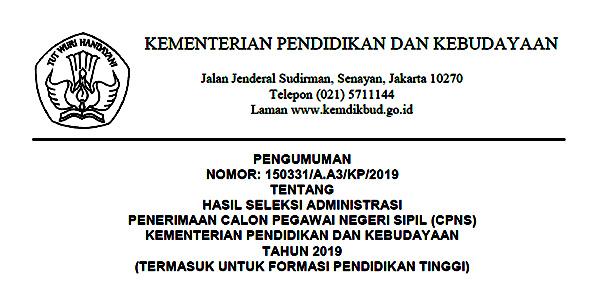 Pengumuman Lulus Seleksi Administrasi CPNS Kemdikbud 1