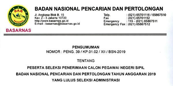 Pengumuman Lulus Seleksi Administrasi CPNS BASARNAS 1