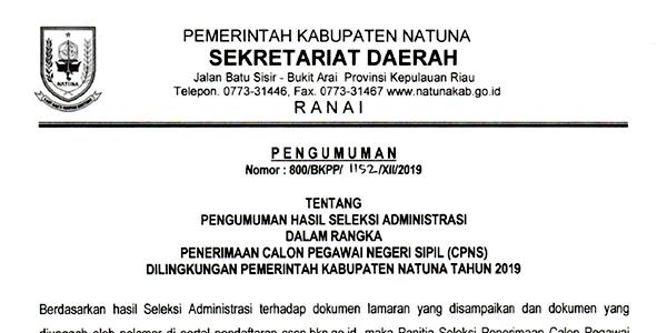 Pengumuman Lulus Seleksi Administrasi CPNS Pemkab Natuna