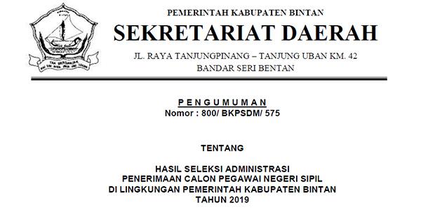 Pengumuman Lulus Seleksi Administrasi CPNS Pemkab Bintan