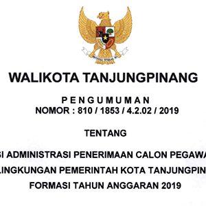 Pengumuman Lulus Seleksi Administrasi CPNS Pemko Tanjungpinang 7