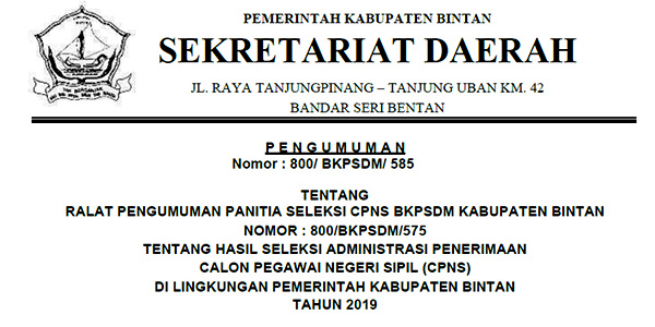 Ralat Tanggal Pengumuman Hasil Sanggah CPNS Bintan
