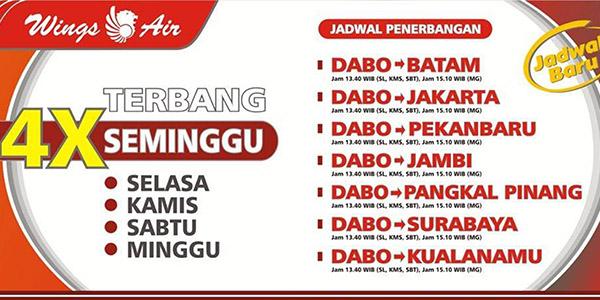 Jadwal Terbaru Penerbangan Wings Air di Dabo Singkep