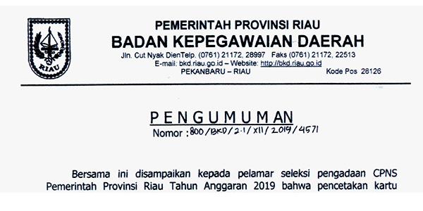 Pengumuman Cetak Kartu Peserta Ujian CPNS Provinsi Riau