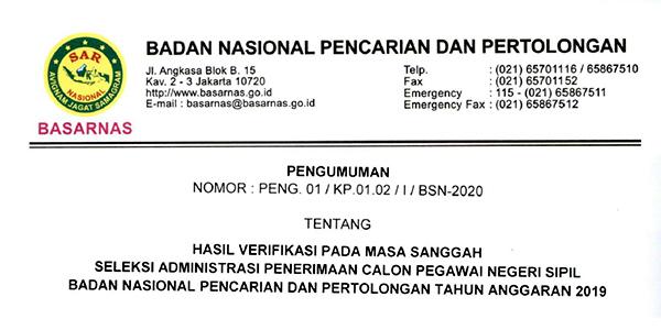 Pengumuman Hasil Sanggahan Seleksi Administrasi CPNS BASARNAS