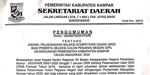 Pengumuman Jadwal SKD CPNS Kabupaten Kampar