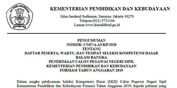 Pengumuman Jadwal SKD CPNS Kemendikbud Provinsi Kepri