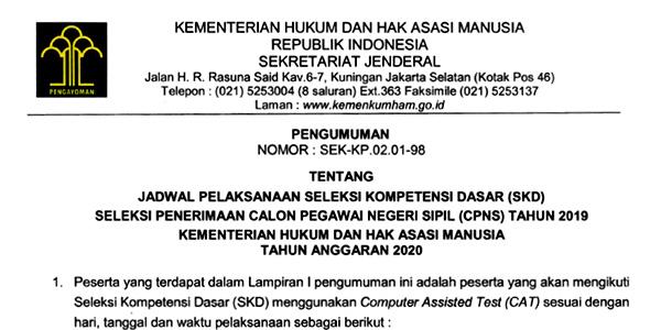 Pengumuman Jadwal SKD CPNS Kemenkumham Provinsi Riau