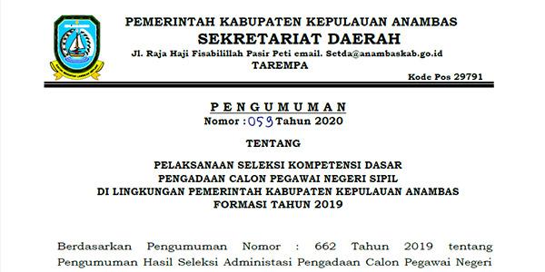 Pengumuman Jadwal SKD CPNS Pemkab Anambas