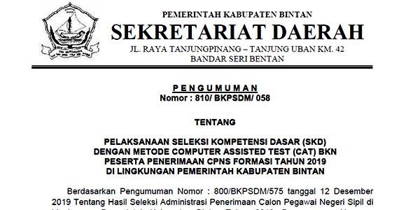 Pengumuman Jadwal SKD CPNS Pemkab Bintan