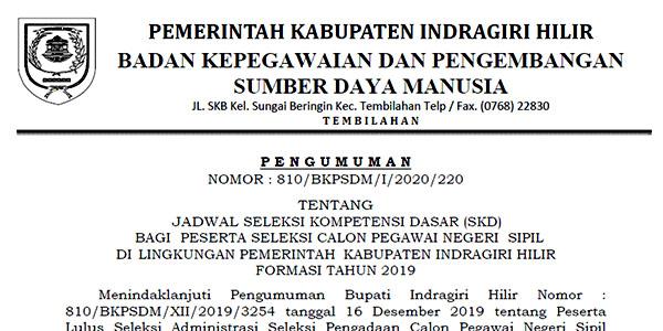 Pengumuman Jadwal SKD CPNS Pemkab INHIL