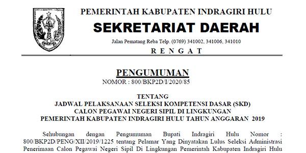 Pengumuman Jadwal SKD CPNS Pemkab INHU