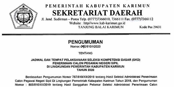 Pengumuman Jadwal SKD CPNS Pemkab Karimun