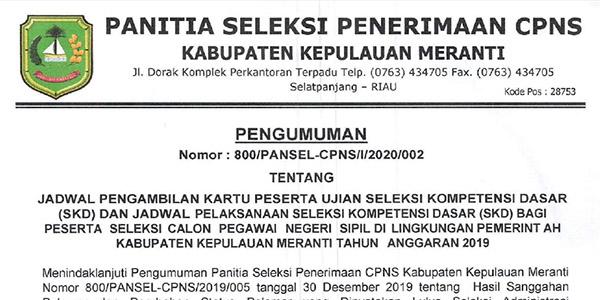 Pengumuman Jadwal SKD CPNS Pemkab Meranti
