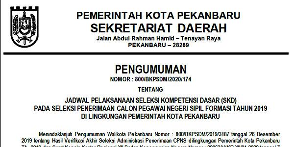 Pengumuman Jadwal SKD CPNS Pemko Pekanbaru