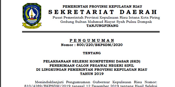 Pengumuman Jadwal SKD CPNS Provinsi Kepri