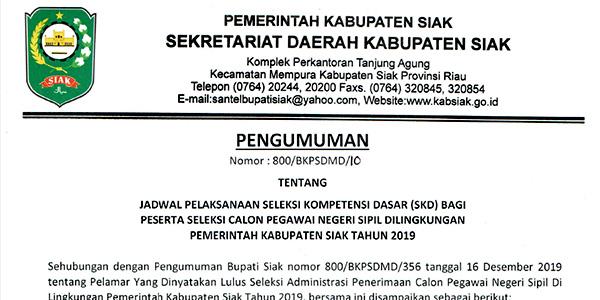 Pengumuman Jadwal SKD CPNS Pemkab Siak