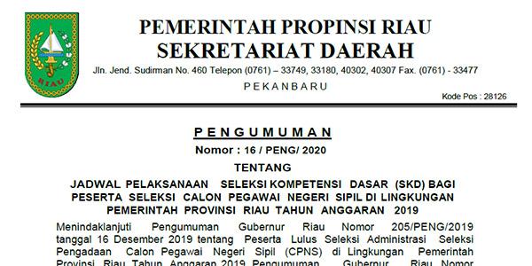 Pengumuman Jadwal Ujian SKD CPNS Provinsi Riau