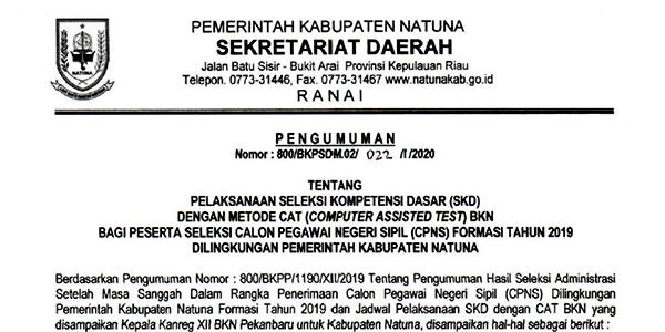 Pengumuman Pelaksanaan SKD CPNS Pemkab Natuna