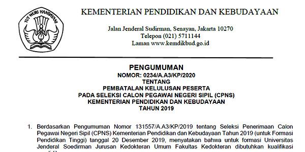 Kemendikbud Batalkan Kelulusan Peserta Seleksi CPNS