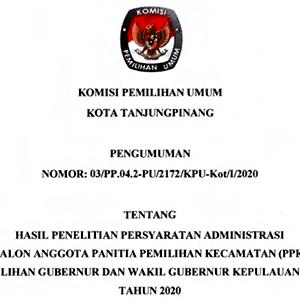 KPU Umumkan Penetapan Hasil Penelitian Administrasi Calon Anggota PPK Se-Kota Tanjungpinang 7