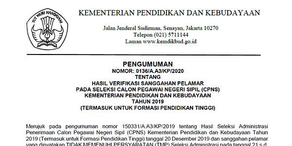 Pengumuman Verifikasi Sanggahan Seleksi Administrasi CPNS Kemdikbud