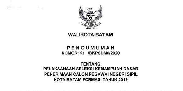 Pengumuman dan Jadwal SKD CPNS Pemko Batam