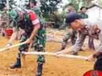 Bersama Satgas TMMD dan Warga, Dandim 0315/Bintan Ikut Timbun Jalan di Dompak 3
