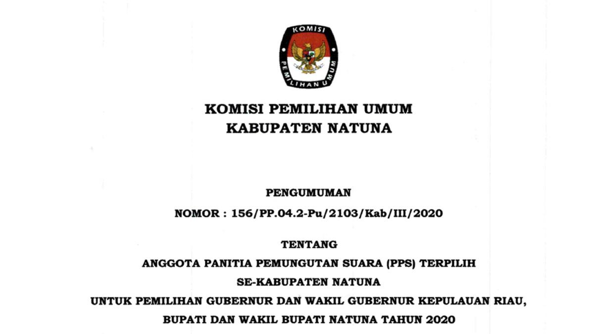 KPU Umumkan Nama Anggota PPS Terpilih Se-Kabupaten Natuna 1