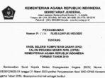 Pengumuman Hasil SKD CPNS Kemenag Formasi 2019 9
